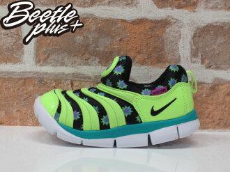 童鞋BEETLE NIKE DYNAMO FREE 綠黑 花紋 毛毛蟲 兒童 休閒 慢跑鞋 運動鞋 343938-304 D-672