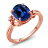Simulated Sapphire White Created Sapphire 18K Rose Gold Plated Silver Ring 0