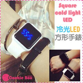 *餅乾盒子* 方形 冷光 LED 手錶 韓國 電子錶 藍光 潮流 簡約 果凍 學生 類 apple 錶 男女錶 對錶