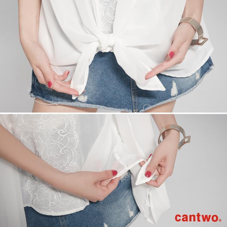 cantwo雪紡蕾絲假兩件上衣(共二色) 5
