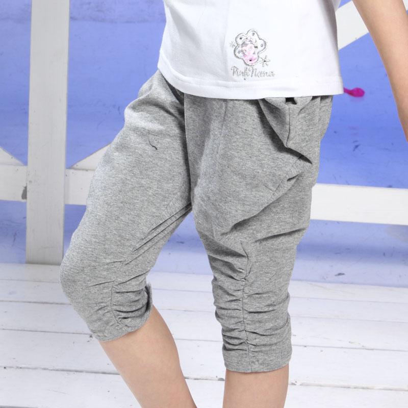 PINKNANA童裝 女童純棉飛鼠七分褲寬褲21191(灰色現貨)