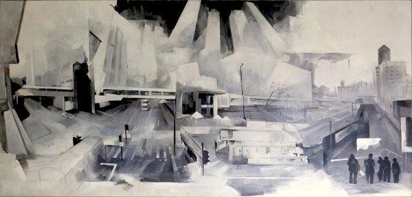 TCP作品【harborcityinblackandwhite】油畫CE-0020抽象畫無框畫當代藝術