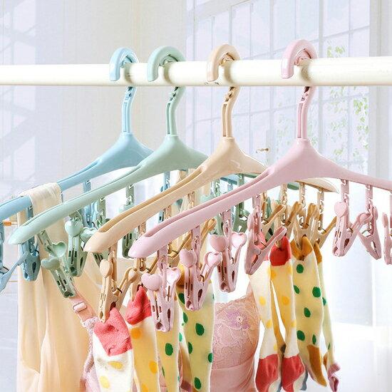 ♚MY COLOR♚防風晾曬夾衣架 內衣 襪子 陽台 8夾 毛巾 衣物 旋轉 卡扣 衣櫃 收納 分類【L167】