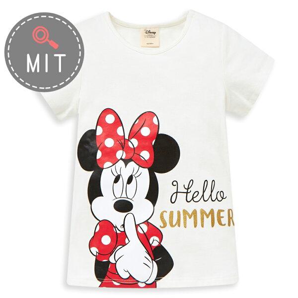 Disney米妮系列歡樂夏日圓領上衣-白色