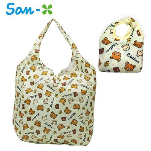 鵝黃款【日本正版】拉拉熊 摺疊 購物袋 環保袋 手提袋 防潑水 懶懶熊 Rilakkuma San-X - 451363