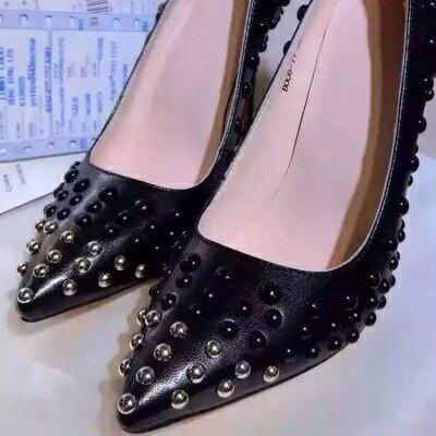 ☆尖頭高跟鞋真皮細跟單鞋 -酷炫個性鉚釘設計女鞋子73iw32【獨家進口】【米蘭精品】