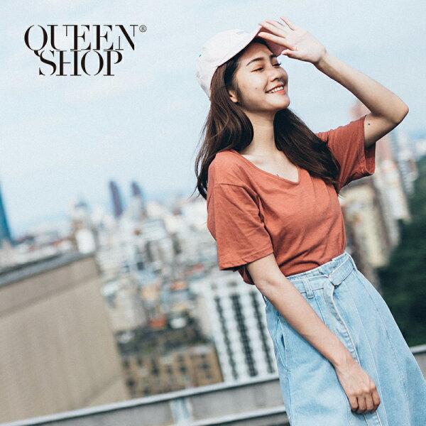 QueenShop【01037323】簡約素面U領T兩色售*預購*