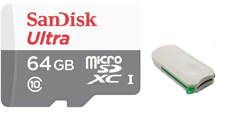 SanDisk Ultra 64GB 80MB/s microSDXC 64G microSD micro SD SDXC UHS-I C10 Class 10 Flash Memory Card SDSQUNS-064G + OEM USB 3.0 Card Reader 0