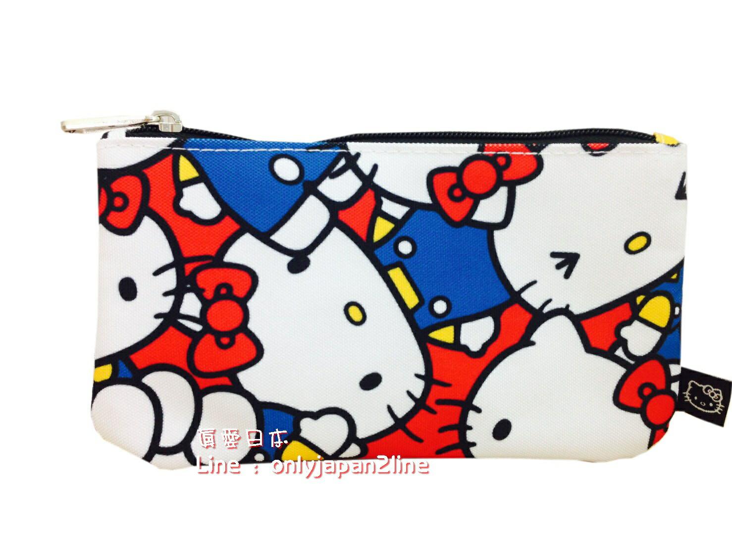 【真愛日本】16062400006LF聯名萬用包-滿版多表情藍衣    三麗鷗Hello Kitty凱蒂貓 化妝包 收納包