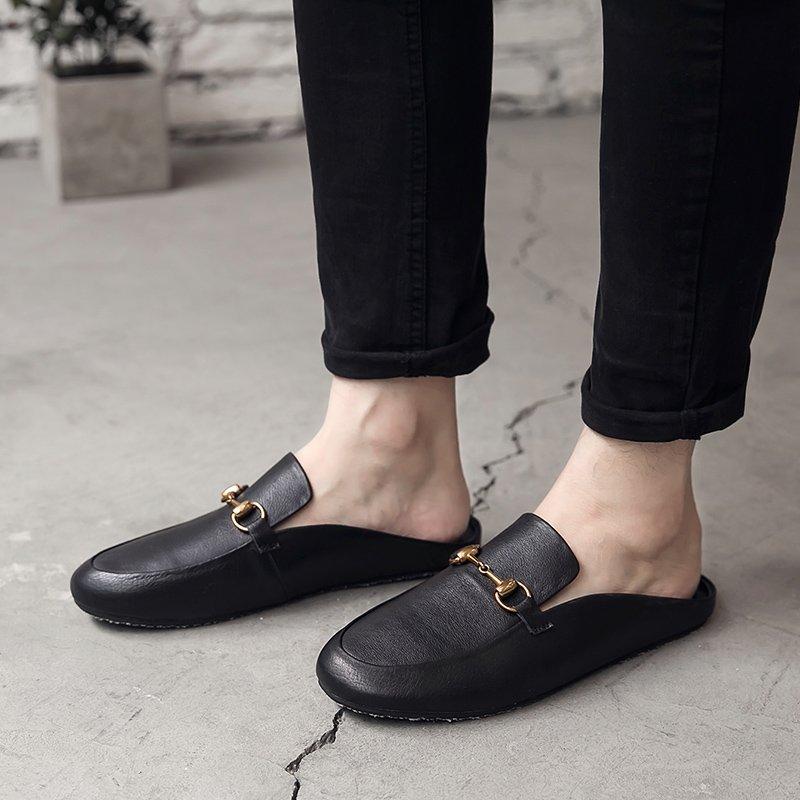 FINDSENSE H1 2018 歐美 男 新款 高品質 高端真皮 無後跟半拖 包頭皮鞋 潮男 休閒鞋