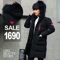 羽絨外套推薦到SISI【C8018】防風保暖休閒加厚羽絨棉寬鬆連帽中長款大衣外套就在SiSi Girl推薦羽絨外套
