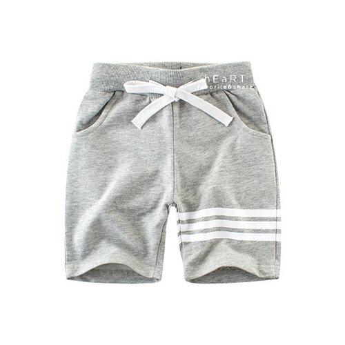 運動風條紋束口五分褲運動褲童裝短褲棉褲