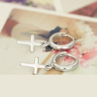 ~925純銀耳環耳飾~  十字架生日情人節 女飾品73ia62~ ~~米蘭 ~