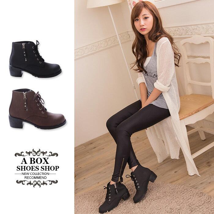 格子舖*【KWD7020】MIT台灣製 時尚個性帥氣金屬拉鍊皮革材質 繫帶粗跟短靴 馬丁靴 機車靴 2色 0