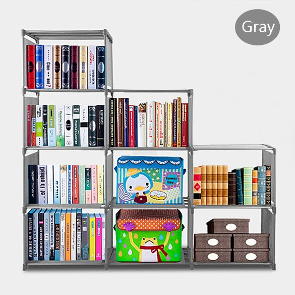 Adjustable Bookcase Storage Bookshelf with 9 Book Shelves 2
