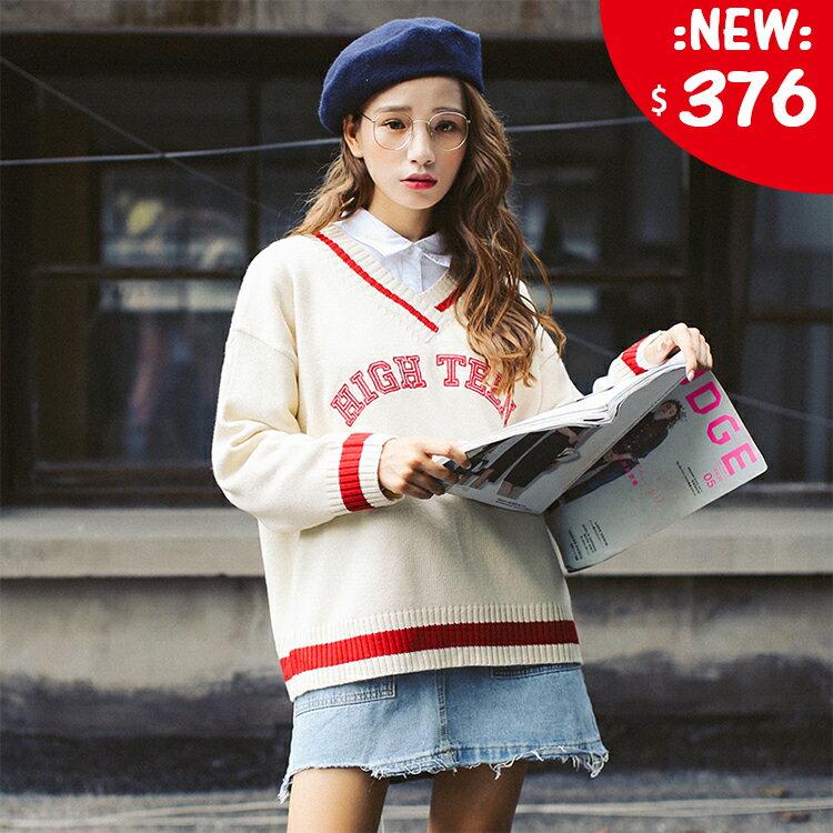❤原價760五折376❤[現+預] ] 韓版學院風V領撞色字母毛衣 單穿搭配襯衫都好看【HY1101FRN】