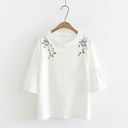*ORead*日系森女刺繡花朵拼接寬鬆中袖圓領T恤(白色F碼) - 限時優惠好康折扣