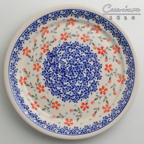 波蘭陶藍印紅花系列圓形餐盤陶瓷盤菜盤點心盤圓盤沙拉盤25cm波蘭手工製