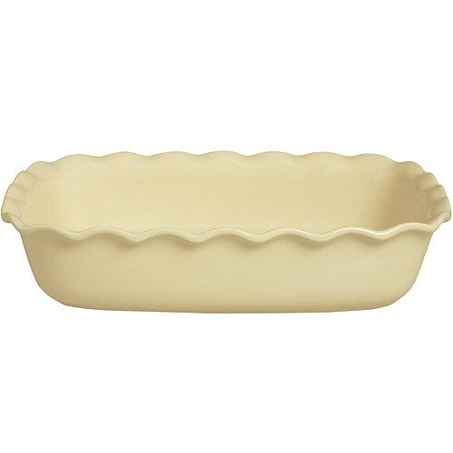 《EXCELSA》Chic陶製荷葉邊長烤盤(奶油黃30cm)