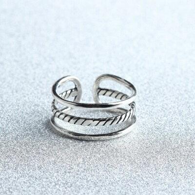 ~925純銀戒指三線圈開口戒~ 大方可調節生日情人節 女飾品73gp54~ ~~米蘭 ~