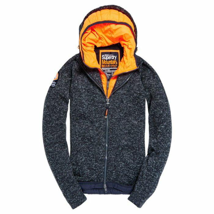 美國百分百【全新真品】Superdry 極度乾燥 Storm 連帽外套 防風夾克 假兩件 針織 靛藍砂礫 S號 I749