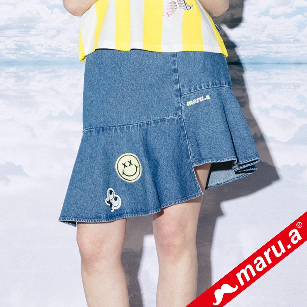 【maru.a】斜邊魚尾貼布繡牛仔裙(2色)8326113 4