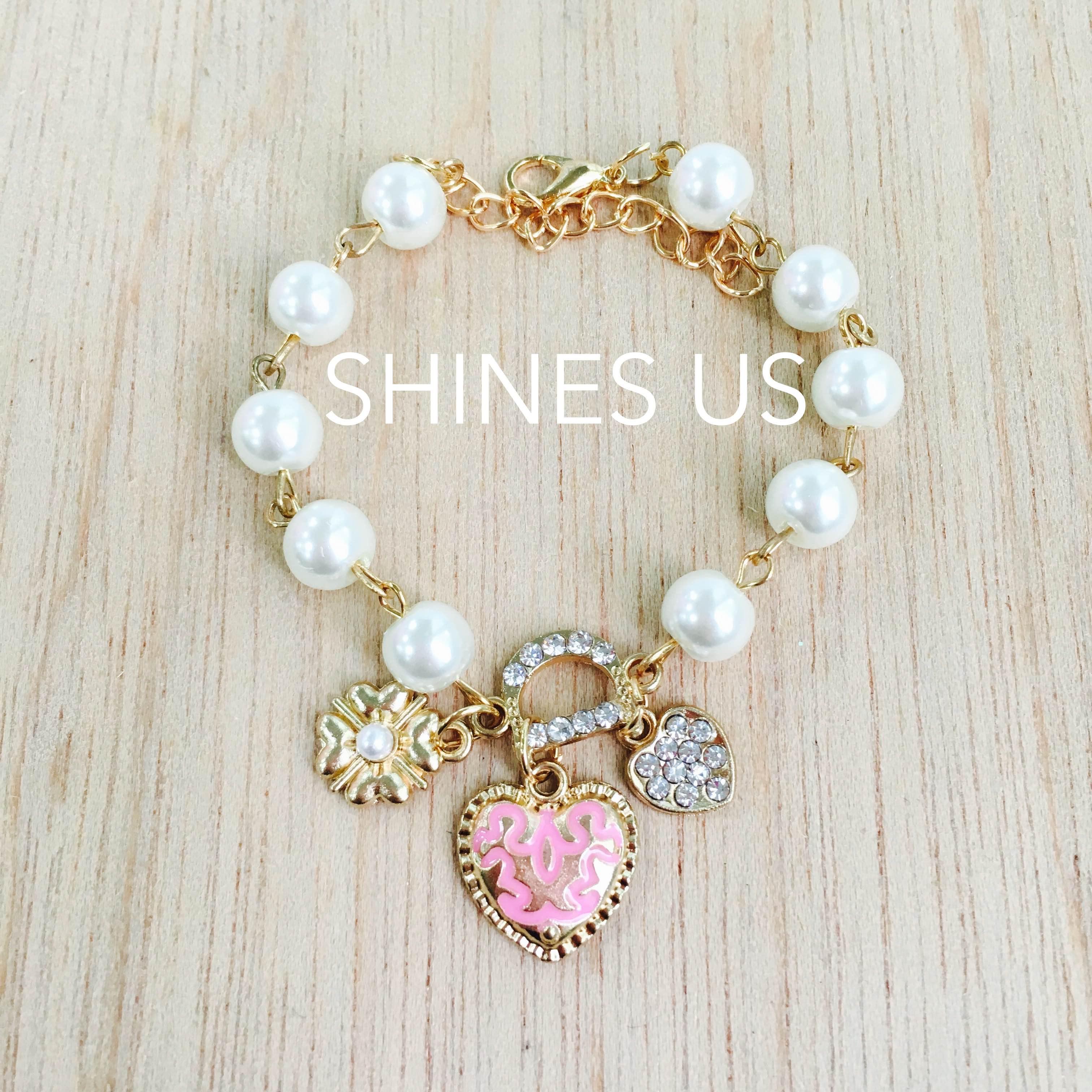 【SHINES US】正韓 珍珠愛心手鍊 手鍊手環