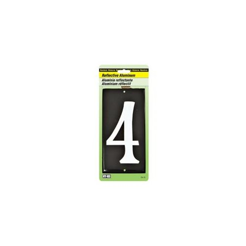 "3-1/2 Inch Reflective Aluminum House Number "" 4 "" 0"