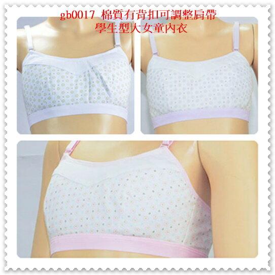 [特價區 $99/件] 棉質有背扣可調整肩帶學生型大女童內衣 下胸圍 62~80 cms 可穿