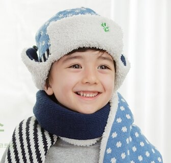 Kocotree◆秋冬時尚點點條紋星星拚色麻花辮兒童毛線護耳飛行帽-藍色