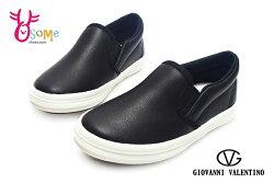 童休閒鞋 懶人鞋 皮革 台灣製造 直接套輕便鞋H8825#黑色◆OSOME奧森鞋業