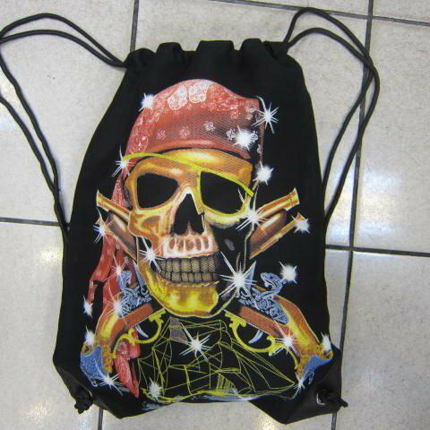 ~雪黛屋~LIAN 束口後背包大容量可放A4資料夾防水帆布材質隨身雙面不同圖驣設計 桔帽骷艪