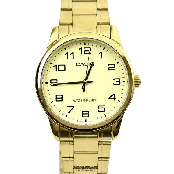 CASIO手錶 耀眼金色數字鋼錶【NECE4】