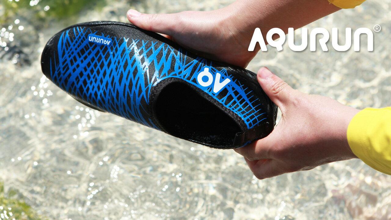 Aqurun(有現貨) Basic Blue黑藍色 – 水陸防滑膠鞋 海灘鞋 水上活動/ 浮潛/ 涉水鞋/ 游泳/ 潛水/ 衝浪/ 瑜珈 /健身房 /露營, 舒服 輕薄 防滑 快乾 服貼