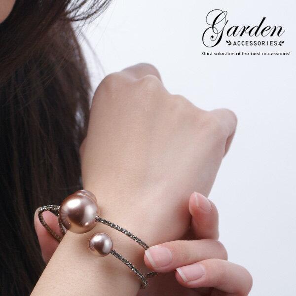 爪鑲晶鑽 燦爛典雅珍珠手環 極致大方 898BR32656