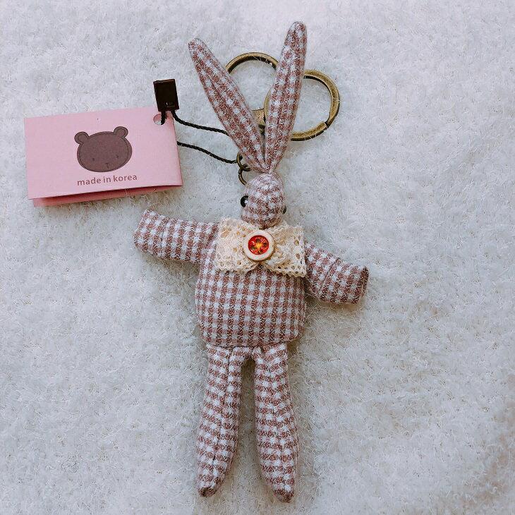 韓國製 可愛 兔 吊飾 鑰匙圈 格子 兔 咖啡 純棉 棉布 裝飾