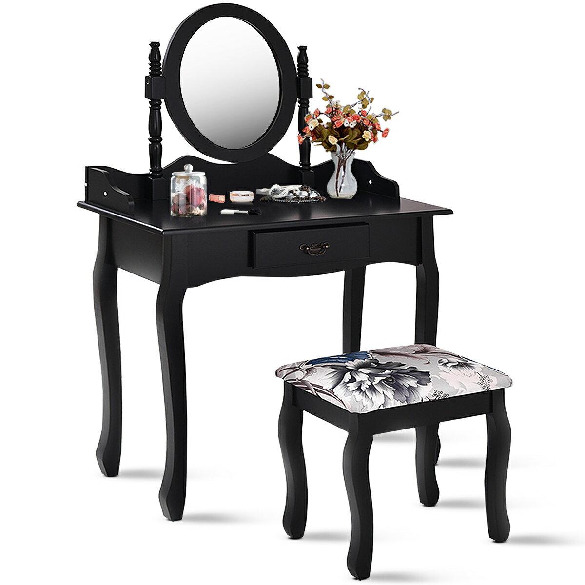 58cc999c0 Costway Vanity Wood Makeup Dressing Table Stool Set Jewelry Desk bathroom  W/ Drawer &Mirror Black
