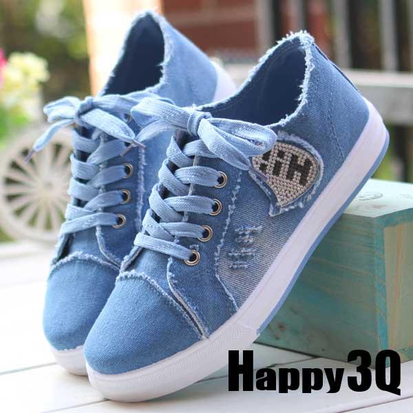你好漸層牛仔字母少女休閒帆布鞋~淺藍 深藍35~40~AAA0173~