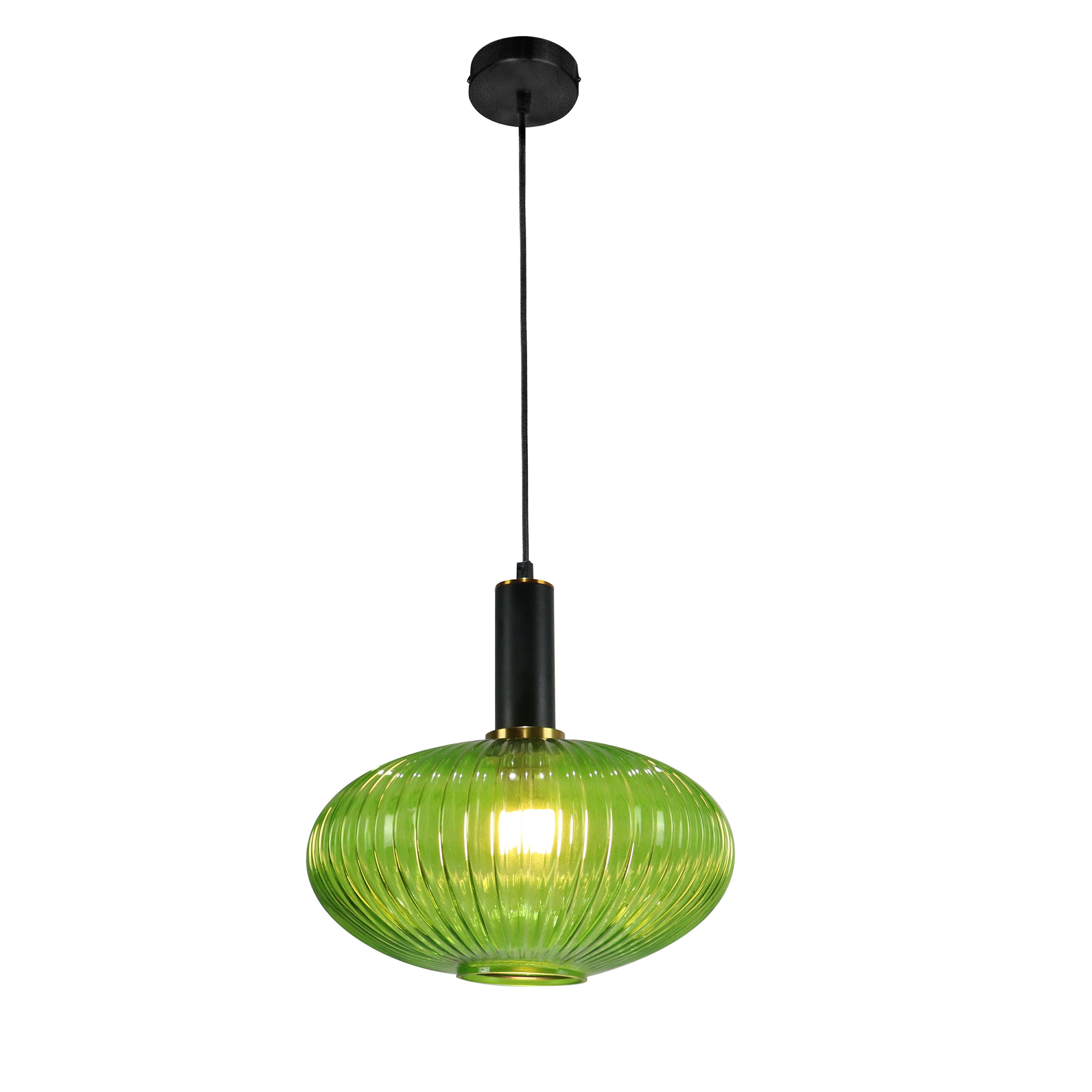 Lassen Retro Pendant Light Fixture With Vintage Oval Glass Shade Decorative Home Foyer Living Room Or Dining Decor Elegant Overhead Lighting Long