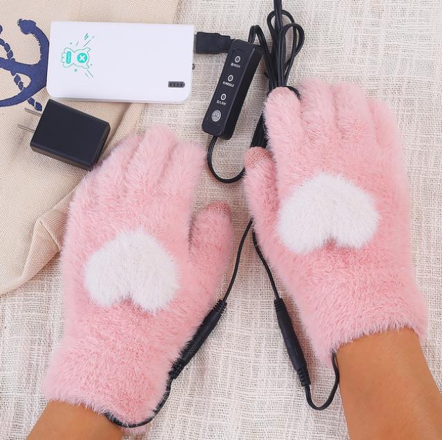 usb加熱手套女充電自發熱冬季電熱手套發熱usb接口漏指自加熱智能 母親節禮物