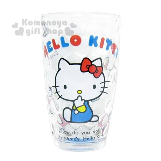〔小禮堂〕Hello Kitty 玻璃杯《透明.側坐.咬手指.240ml》圓點凹凸透心涼