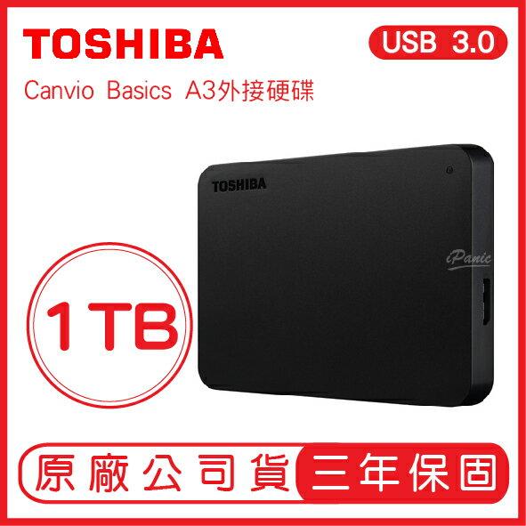 TOSHIBA 1TB USB3.0 2.5吋 外接硬碟 行動硬碟 東芝Canvio Basics A3 1T 隨身硬碟