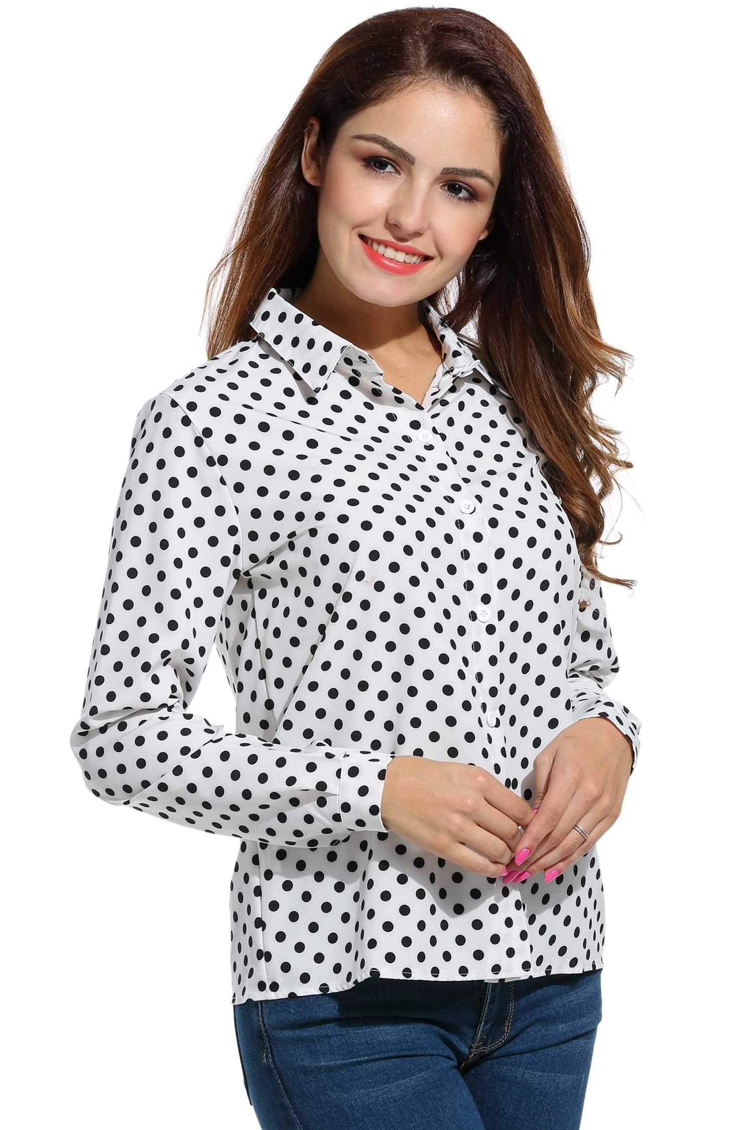 Women Long Sleeve Polka Dot Casual Loose Button Down Shirt 1