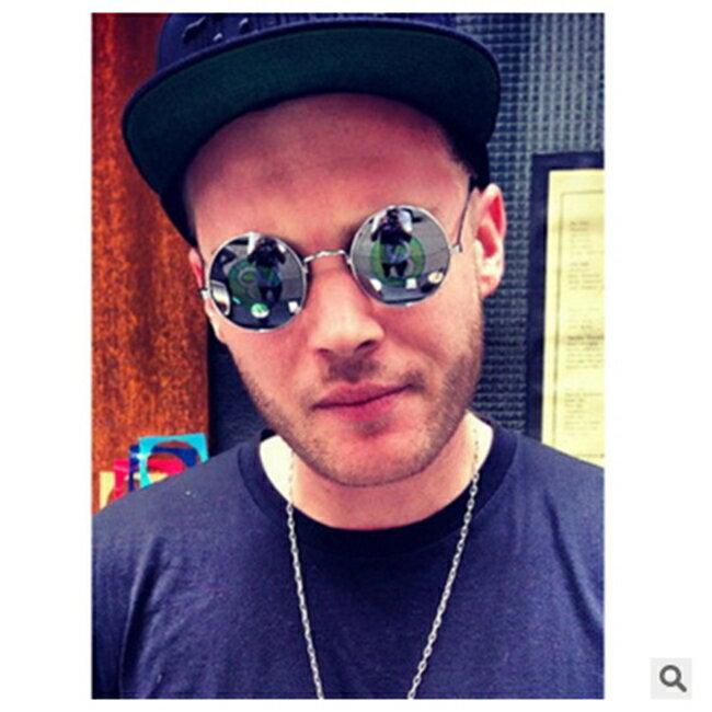 50%OFF SHOP【J011480Gls】新款復古圓框太陽鏡032 金屬時尚墨鏡反光彩膜太陽眼鏡潮附眼鏡盒 - 限時優惠好康折扣