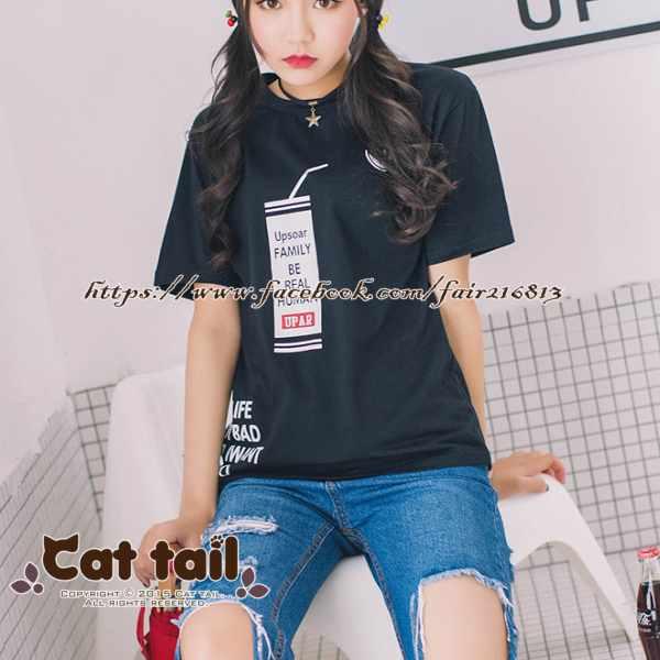 《貓尾巴》TS-0394韓版可愛飲料杯圖案短袖T恤(森林系日系棉麻文青清新)