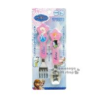〔小禮堂〕迪士尼 冰雪奇緣 日製造型叉匙組《粉.艾莎&安娜.禮服》日本EDISON系列