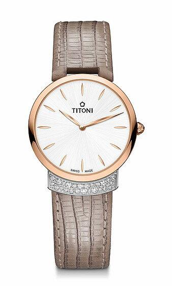 TITONI瑞士梅花錶 優雅伊人系列 TQ42912SRG-ST-590 簡約金屬時尚腕錶/玫瑰金+白32mm