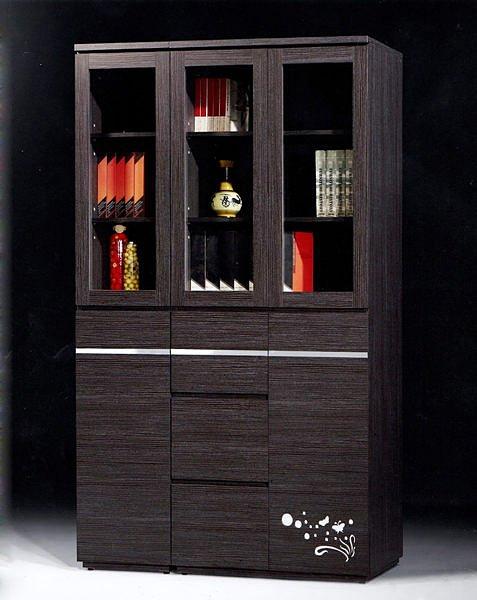 【尚品家具】686-22 莎士比亞4尺鐵刀木紋開門書櫥書櫃(3尺+1尺)~