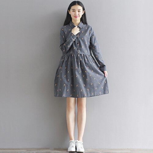 長頸鹿印花連身裙(2色M~2XL) 【OREAD】 2