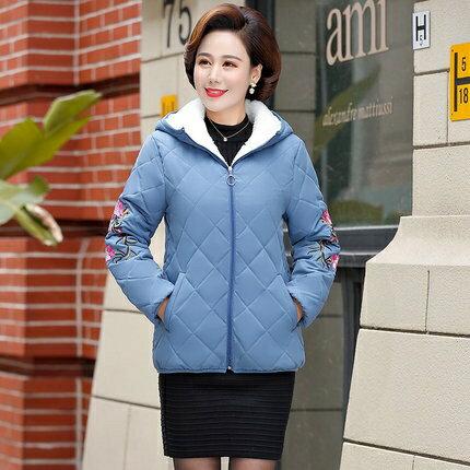 媽媽棉衣外套 媽媽秋裝棉衣中年女羽絨棉服秋冬新款短款小棉襖中老年人女裝外套